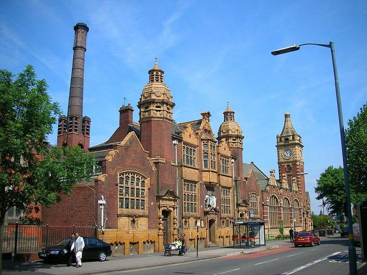 The baths and public library on Moseley Road, Balsall Heath, Birmingham, England.