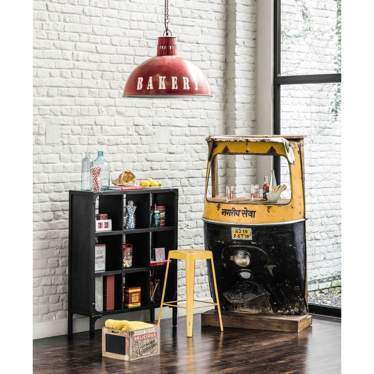 meuble de bar en m tal jaune noir l 95 cm touk touk. Black Bedroom Furniture Sets. Home Design Ideas