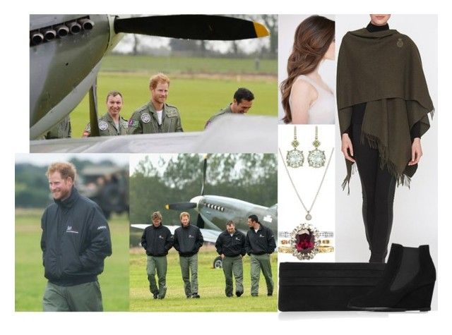 """""""Visiting Goodwood Aerodrome in West Sussex with her brother and watching an RAF Flypast to mark the 75th anniversary of the Battle of Britain"""" by marywindsor ❤ liked on Polyvore featuring Lauren Merkin, L.K.Bennett and Tate"""