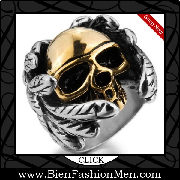 Mens Bold Rings | Mens Bold Ring | Mens Rings | Bold Rings | Mens Jewelery | Jewelry on Men | Jewelery for Men | Men Jewellry | Male Jewellery | Chunky Rings | Affordable Rings | Shop Now ♦ JBlue men's Huge 316L Stainless Steel Ring Silver Gold Skull Wings Heavy Biker $7.99