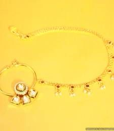 Buy Kundan Meenakari Pearl Nose ring nose-ring online