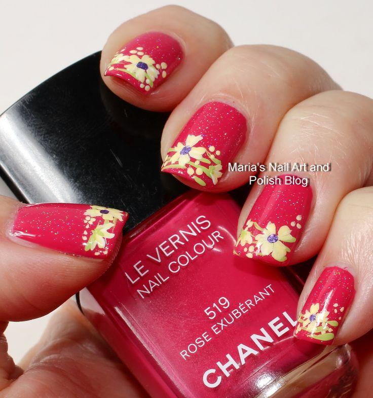 Pretty Fingers & Toes Nail Polish| Serafini Amelia| Nail Art-Exuberant floral French nail art