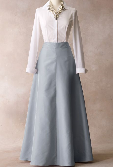 Brides.com: Talbots - Fall/Holiday 2012 . Wing-collar shirt, $80, and ball skirt, $199, Talbots  Browse more mother-of-the-bride dresses.
