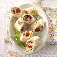 Mini-Wrap-Spieße mit Tunfisch und Geflügel