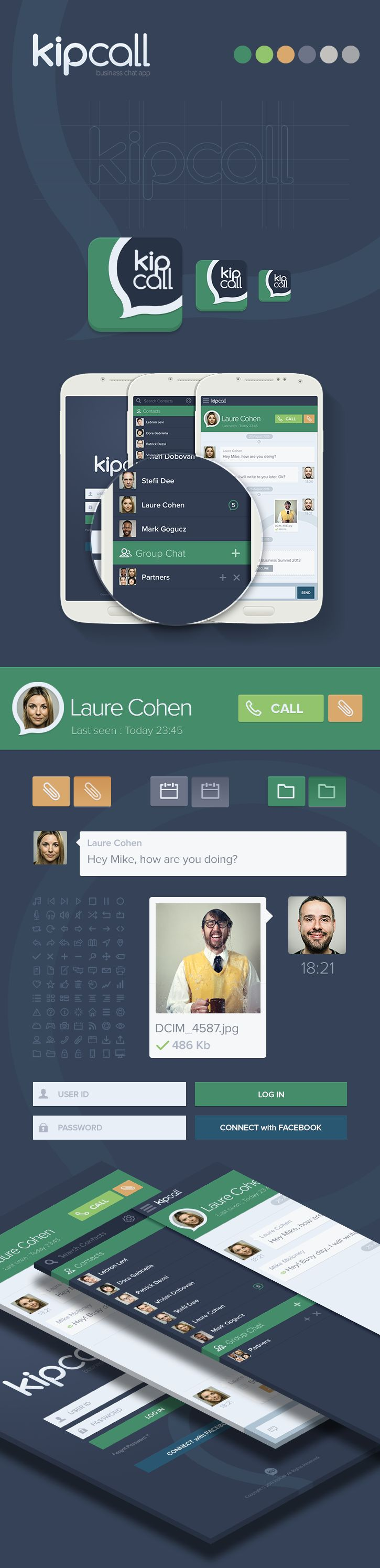 Here is a collection of gorgeous screenshots and desktop icons for this mobile chat app.