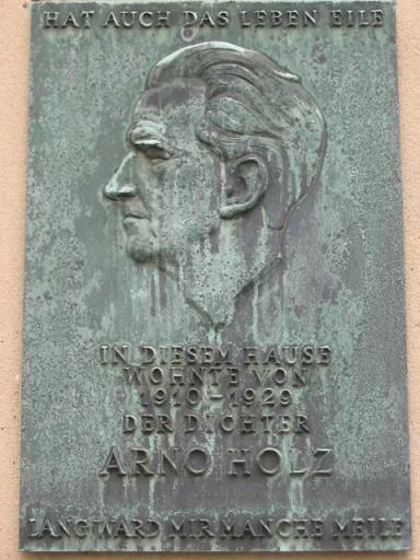 Gedenktafel für Arno Holz, Stübbenstraße 5