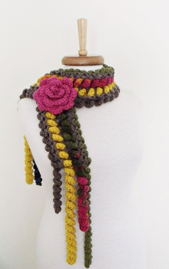 Ringlet Scarf With Flower Brooch Green by knittingshop on Etsy