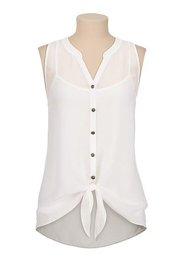 sleeveless chiffon tie front blouse (original price, $26) available at #Maurices