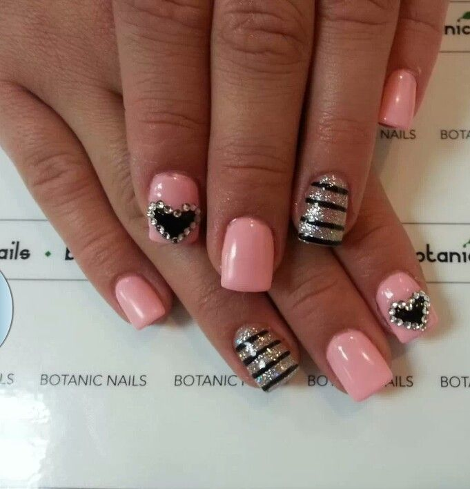 37 best Black & pink nails images on Pinterest | Nail decorations ...
