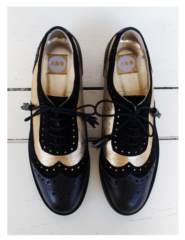 ABO gold & black brogues #abo #shoes #brogues #oxfords #gold ♦F&I♦