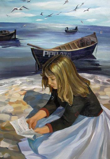 Larisa Ilchenko (Russia) - The girl, reading a letter.