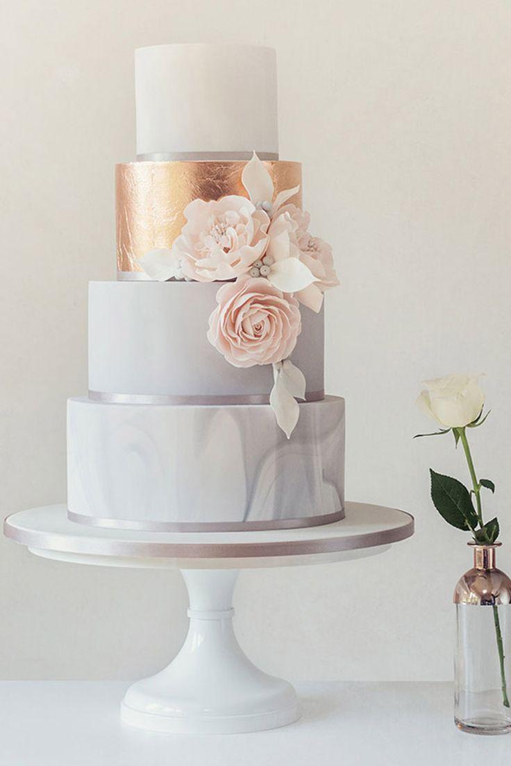 Dieser elegante Minz-, Pfirsich- und Goldkuchen. – Hochzeitstorten   – Torten