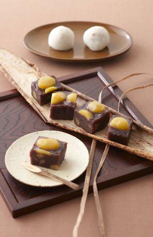 日本人のおやつ♫(^ω^) Japanese sweets - Kuri yokan 栗羊羹 (sweet jellied adzuki‐bean paste with sweet chestnuts) ♥ Japanese Dessert