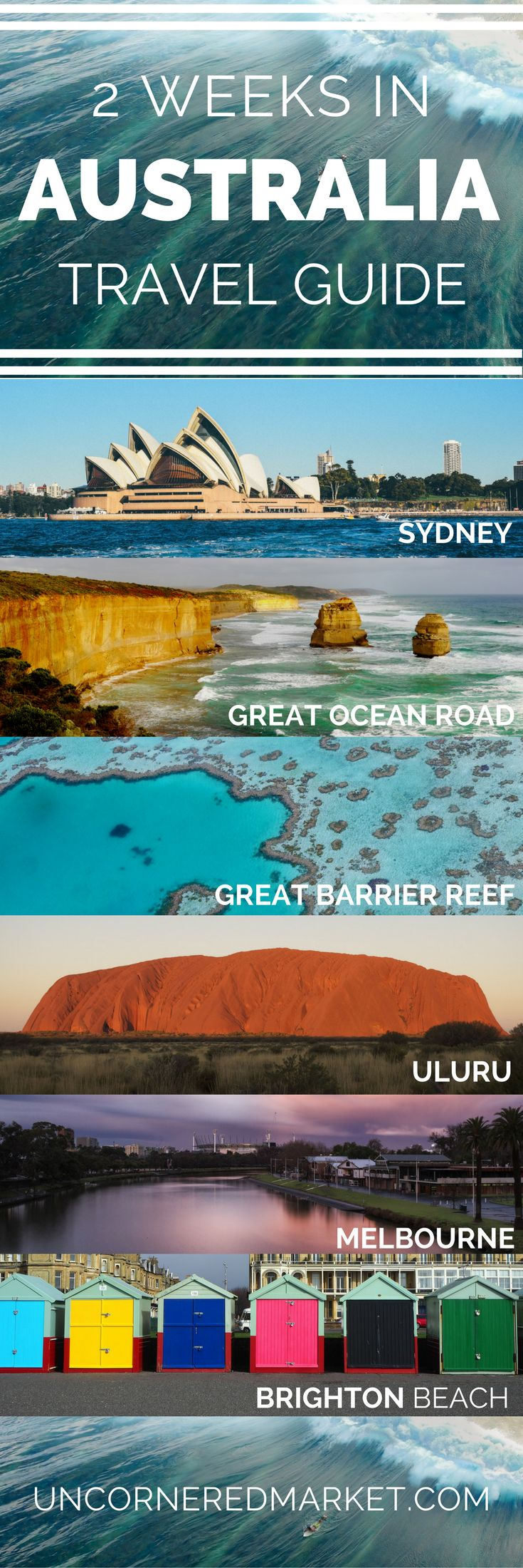An experiential guide to exploring the top sites and destinations in Australia including Sydney, the Great Barrier Reef, Uluru, Melbourne and more. The ultimate 2-week Australia itinerary + practical tips for your trip. | Uncornered Market Travel Blog