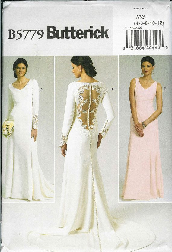 Butterick b 5779 sewing pattern wedding dress size 4 for Butterick wedding dress patterns