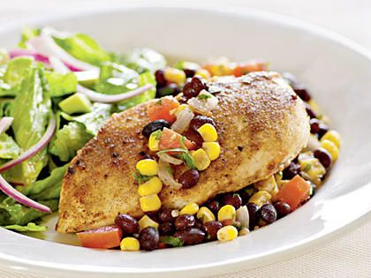 Chicken with Southwestern Salsa | Serve with a mixed green salad. For the dressing, combine 1/4 cup fresh lime juice, 1 tablespoon sugar, 2 tablespoons extra-virgin olive oil, 1/4 teaspoon salt, and 1/4 teaspoon cumin in a large bowl, stirring with a whisk. Add 6 cups torn romaine lettuce, 1/2 cup thinly sliced red onion, and 1/4 cup diced avocado; toss gently to combine.