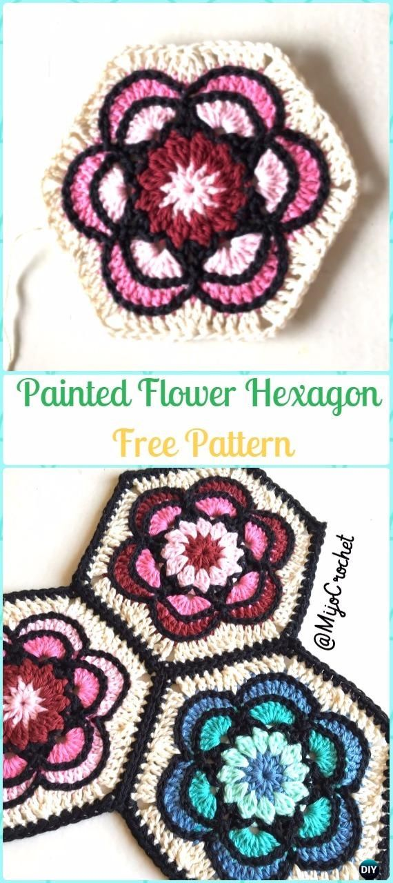 Crochet Painted Flower Hexagon Free Pattern - Crochet Hexagon Motif Free Patterns