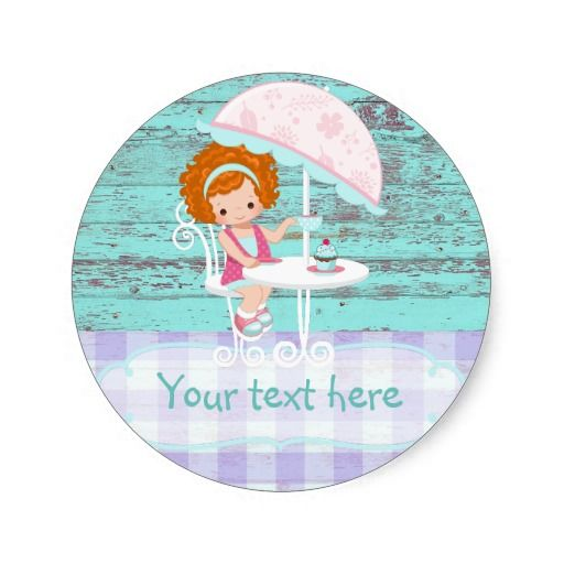 Girl's Birthday Tea Party Shabby-Chic Personalized Classic Round Sticker