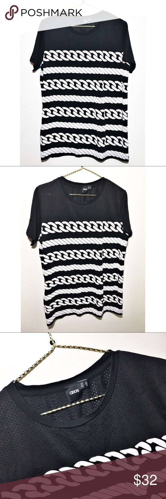ASOS Top ASOS chain link / rope print tee. Top portion is 100% polyester jersey like material. Bottom and sleeves are 100% cotton. Like new! Size 8. ASOS Tops