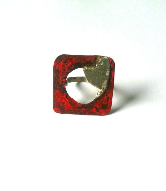 Handmade alpaca oxidised ring with red patina