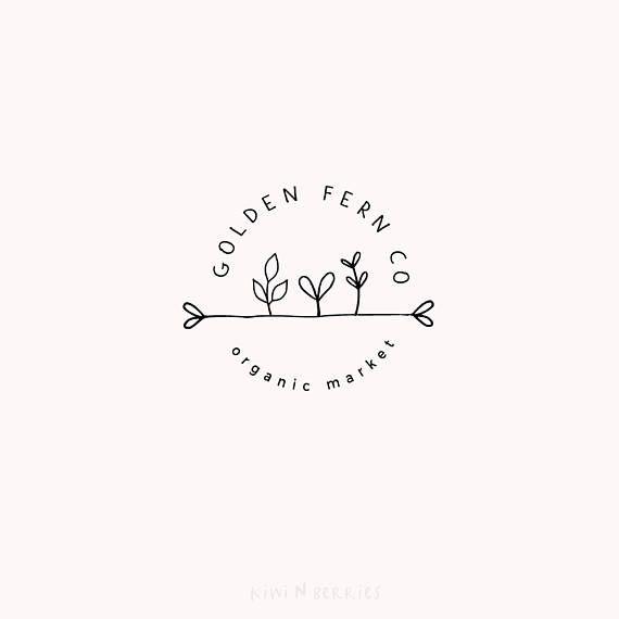Botanical logo – Minimalist logo – Clean black lines – Monochrome logo – Minimalist and modern – Fern leaves plant – Botany design