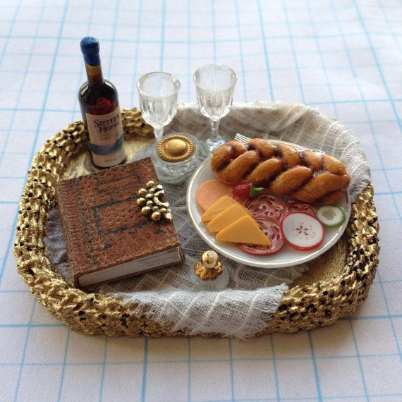 Wicker Basket Tray Large Dressed with Leather Book, Cheese & Wine - by Pat Tyler Miniatures - $47.00