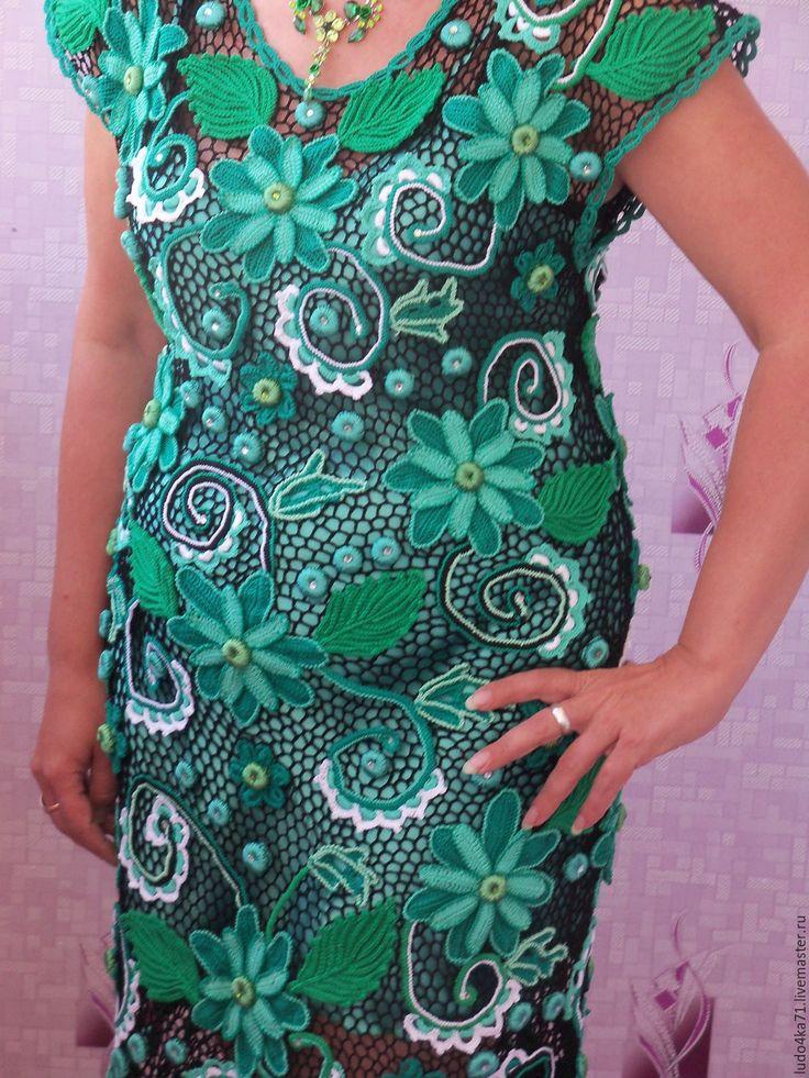 """Купить Платье """"Изумруд"""" - зеленый, цветочный, хлопок 100%"""