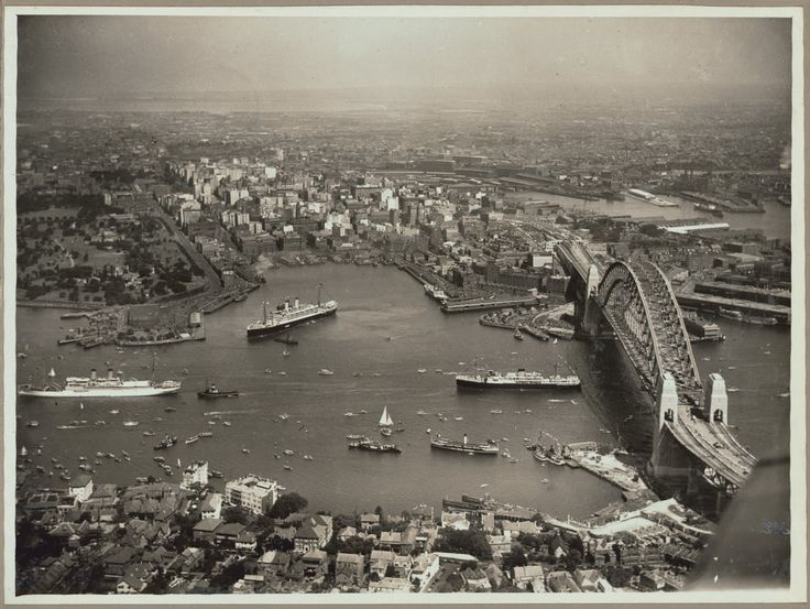 "historicaltimes: "" Aerial view of Sydney and Circular Quay on the day of the official opening of the Sydney Harbour Bridge, 19 March 1932 """