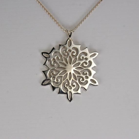 Stylized Sterling Snowflake Pendant