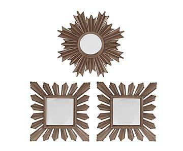 Набор из 3 зеркал - полистоун - коричневый, от 24x2x24 см
