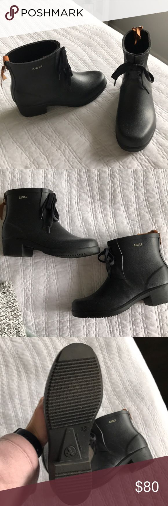 Weather boots Black rubber short weather boots; worn twice. Aigle Shoes Winter & Rain Boots