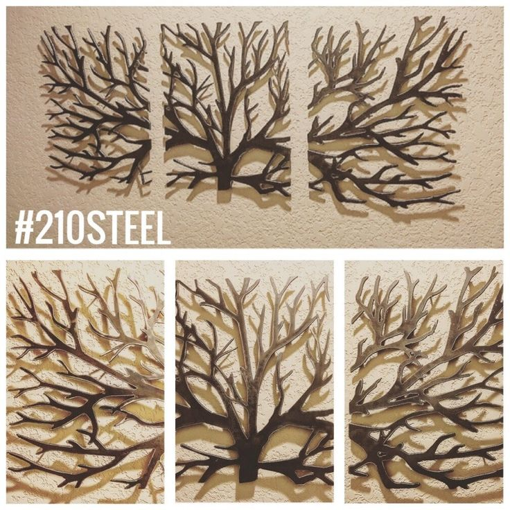 crawling branches 3piece metal wall art