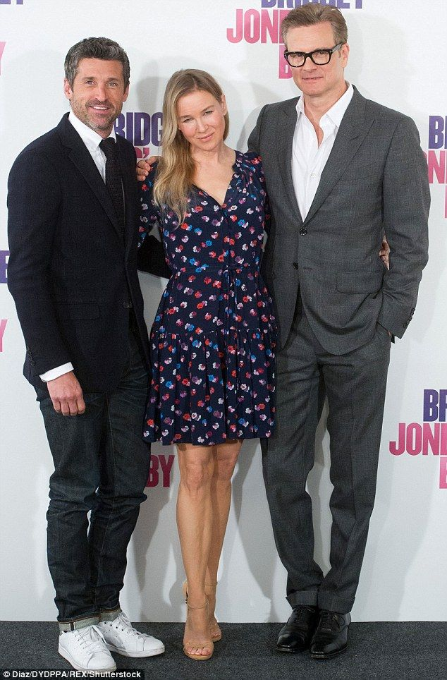 Power trio: The star looked happy to be back in the spotlight as she posed alongside her handsome co-stars Patrick Dempsey (L) and Colin Firth (R)