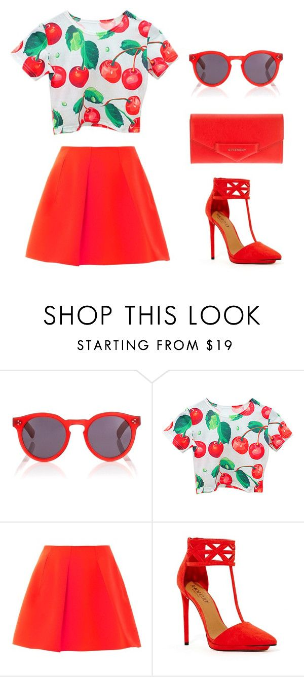 """Red lips?"" by lauramarie17 ❤ liked on Polyvore featuring Illesteva, Chicnova Fashion, Kenzo, Shoe Cult and Givenchy"