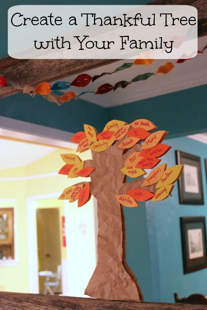 Create a Thankful Tree with your family to teach and practice gratitude with your kids this holiday season. #Thanksgiving #FestiveFamily #DIY