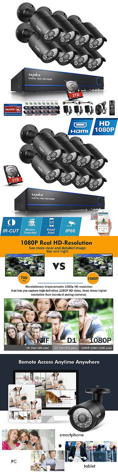 Surveillance Security Systems: Sannce 8Ch Hd 2.0Mp Hdmi Dvr 2Tb Hdd 1080P Outdoor Home Security Camera System BUY IT NOW ONLY: $429.99