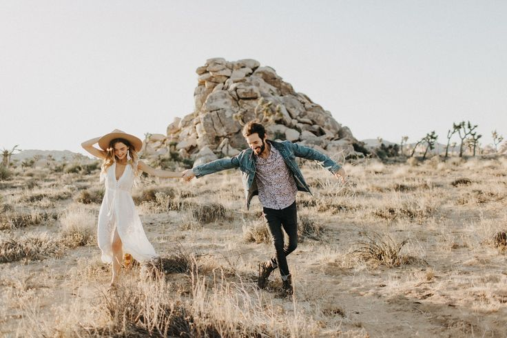 Joshua Tree Engagement Photos // California Desert Engagement // Dress by Spell Byron Bay // www.PhilChester.com