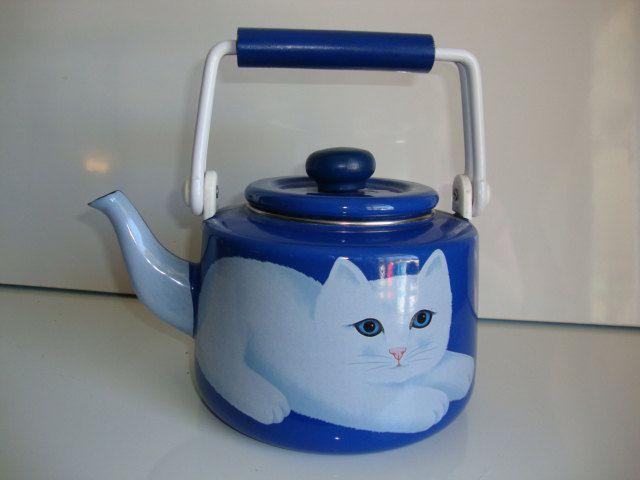 Enameled Tea Kettle Cat Martin Leman