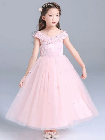 2db7fd262 Girls Pink Princess V-necked Embroidered Flower Wedding Party Dress ...