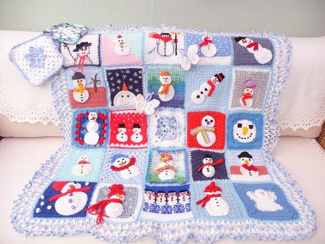 No Pattern. Crocheted Snowman Blanket. Crochet ...