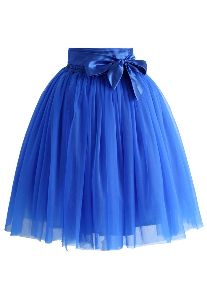 Amore Tulle Skirt in Sapphire Blue - Skirt - Bottoms - Retro, Indie and Unique Fashion