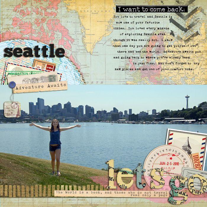 Letu0027s Go Seattle Digital scrapbook page