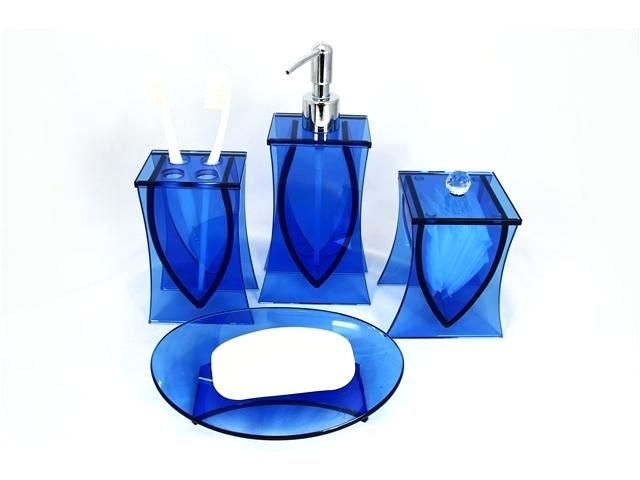 Royal Blue Bathroom Decor Blue Bathroom Accessories Thing Ocean Blue Glass 4 Piece Bath Set Blue Bathroom Accessories Blue Bathroom Decor Bathroom Accessories