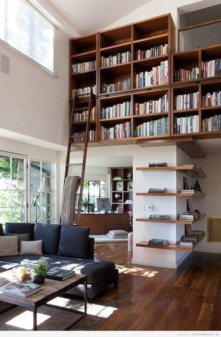 Bibliotecas con escalera en casa 2