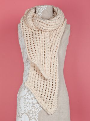 Loom Knit Lacy Scarf