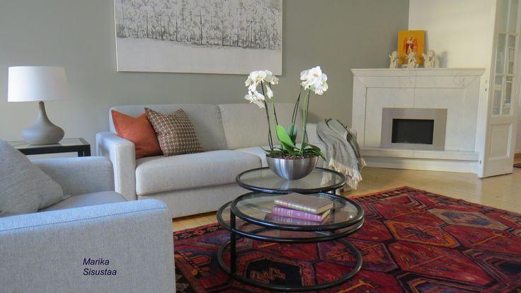 Olohuone, harmaa, valkoinen, vaalea, takka, bio-takka, itämainen matto, sisustustyynyt, moderni sisustus