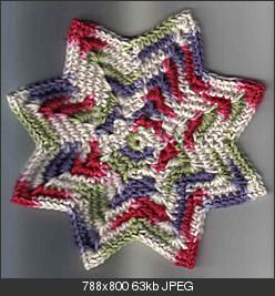 Free Crochet Star Dishcloth Pattern : 8 Point Round Dishcloth Crochet - Dishcloths, Pot ...