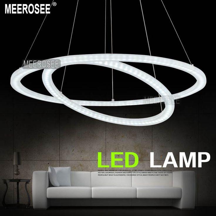 Blanc acylic led double anneau lumineux led cercle lustre lustres luminaire md5000 dans lustres - Lampe cercle led ...