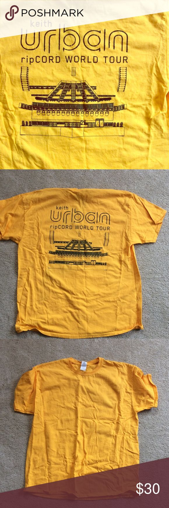 Keith Urban ripCord Tour 2016 Shirt Exclusive shirt for local crew. Graphic is on the back. It shows the exact setup for the stage crew, awesome. Unisex sizing, mustard yellow. Tops Tees - Short Sleeve