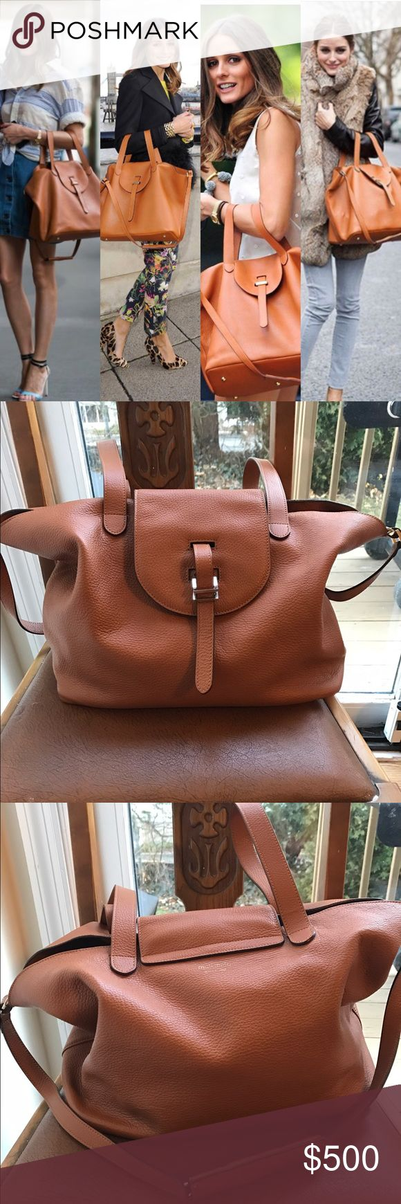 Meli Melo Thela bag ❤️ Olivia Palermo's favorite Outside in like new condition. Inside does show signs of wear -- see pics. But it's the inside sooo... Color is saddle/tan. See last pic for full details. Teathered zip pouch is included Meli Melo Bags Satchels